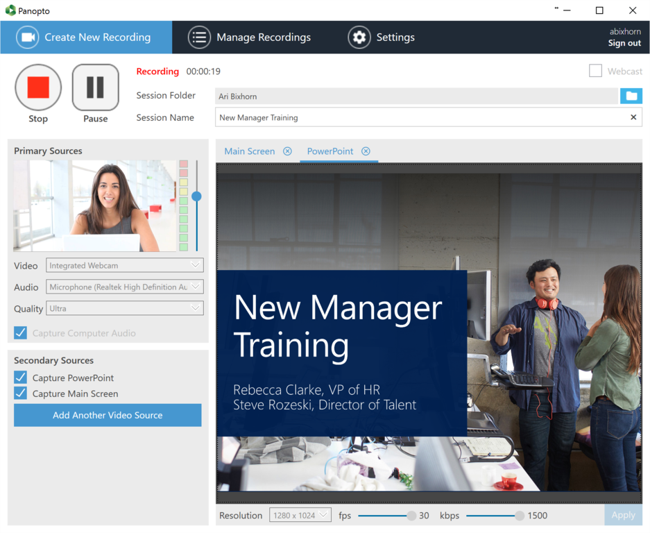 Recording New Manager Training using Panopto for Windows