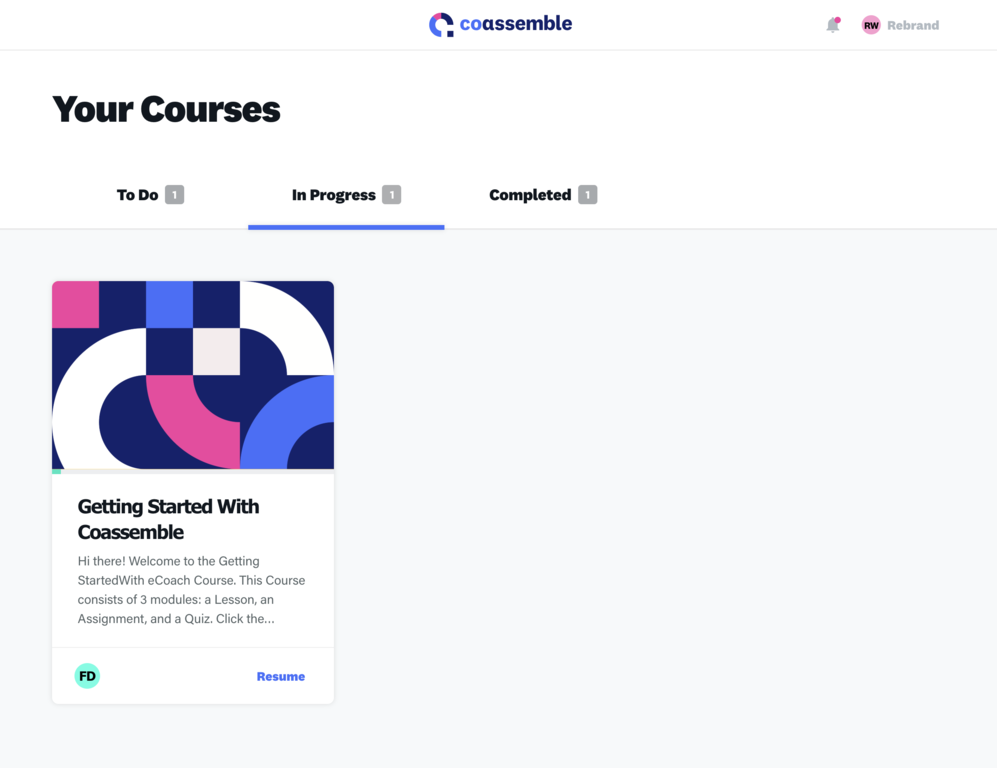 Coassemble - Student View Courses